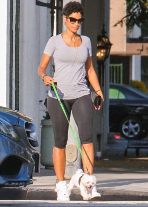 Nicole Murphy in Tights Walking her Dog in West Hollywood