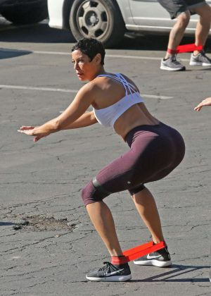 Nicole Murphy in Tights Working Out in Los Angeles