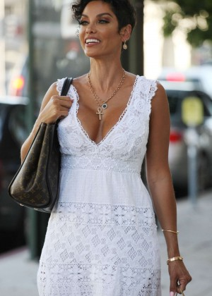 Nicole Murphy in White Dress out in West Hollywood