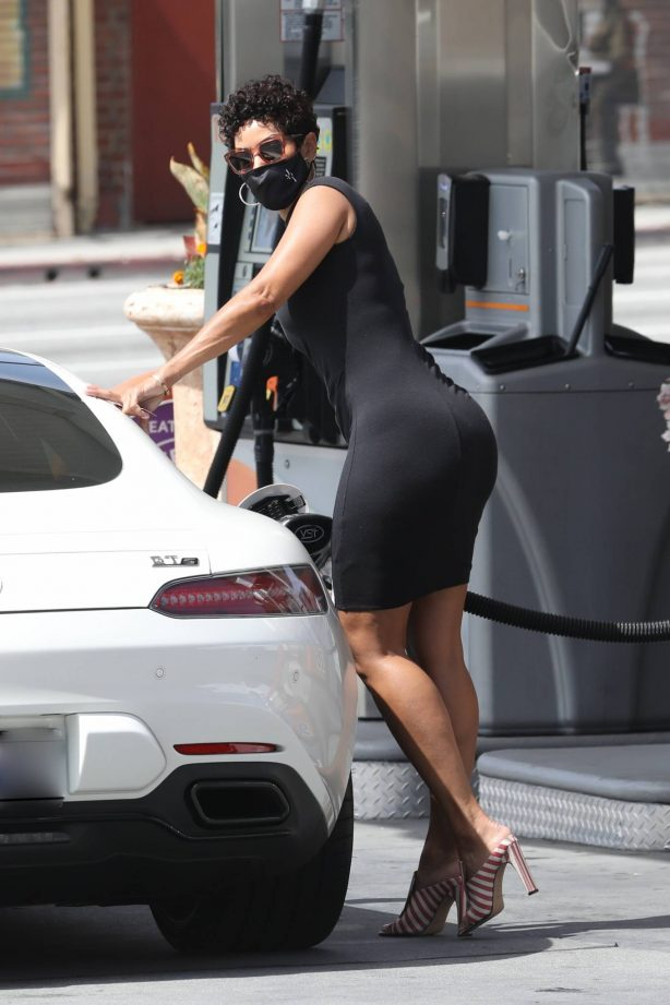Nicole Murphy - Out in a tight black mini dress in West Hollywood