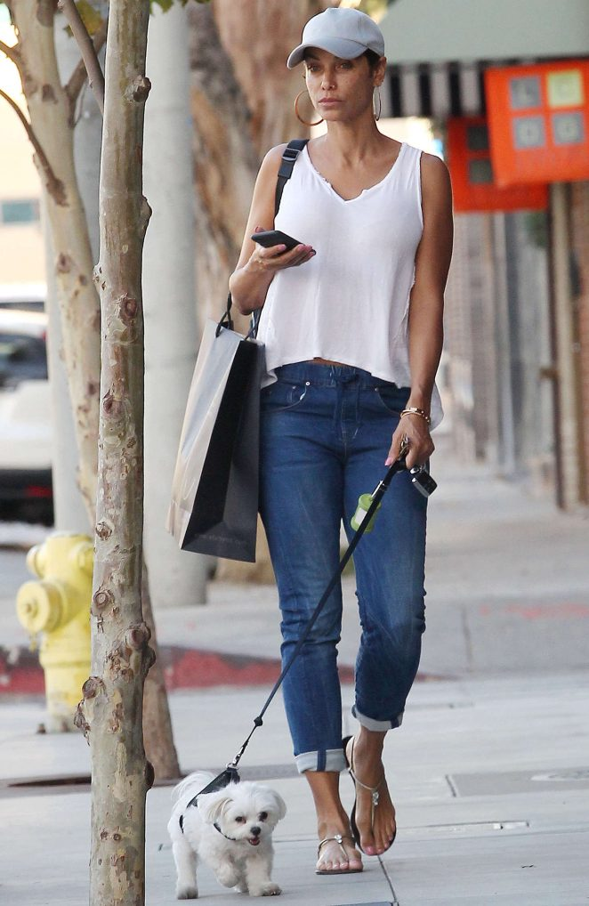 Nicole Murphy waking her dog in Beverly Hills