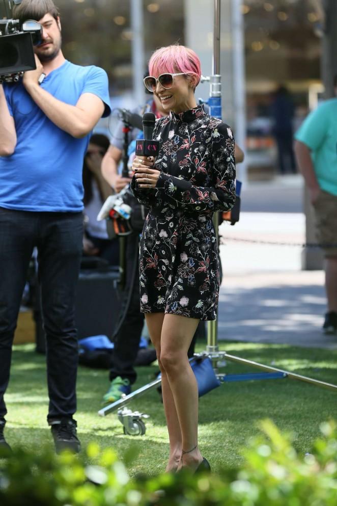Nicole Richie in Mini Dress Filming for E! at The Grove in LA