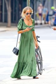 Nicole Richie in Green Long Dress - Out in New York