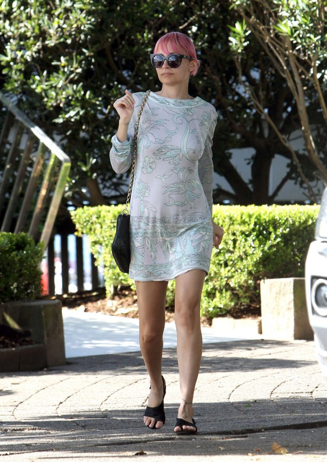 Nicole Richie in Mini Dress Leaving a restaurant in Sydney