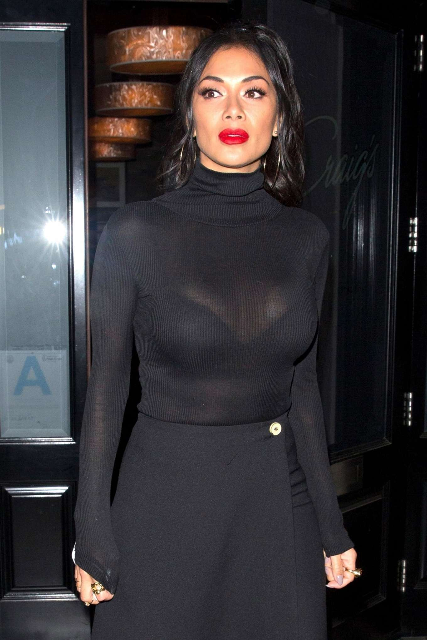 Nicole Scherzinger - All in black outside Craigs in West Hollywood