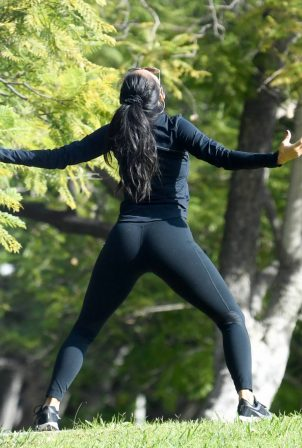 Nicole Scherzinger and Thom Evans - Workout candids in an LA park