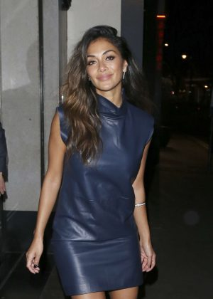 Nicole Scherzinger in Leather Dress at The Ivy nightclub in London