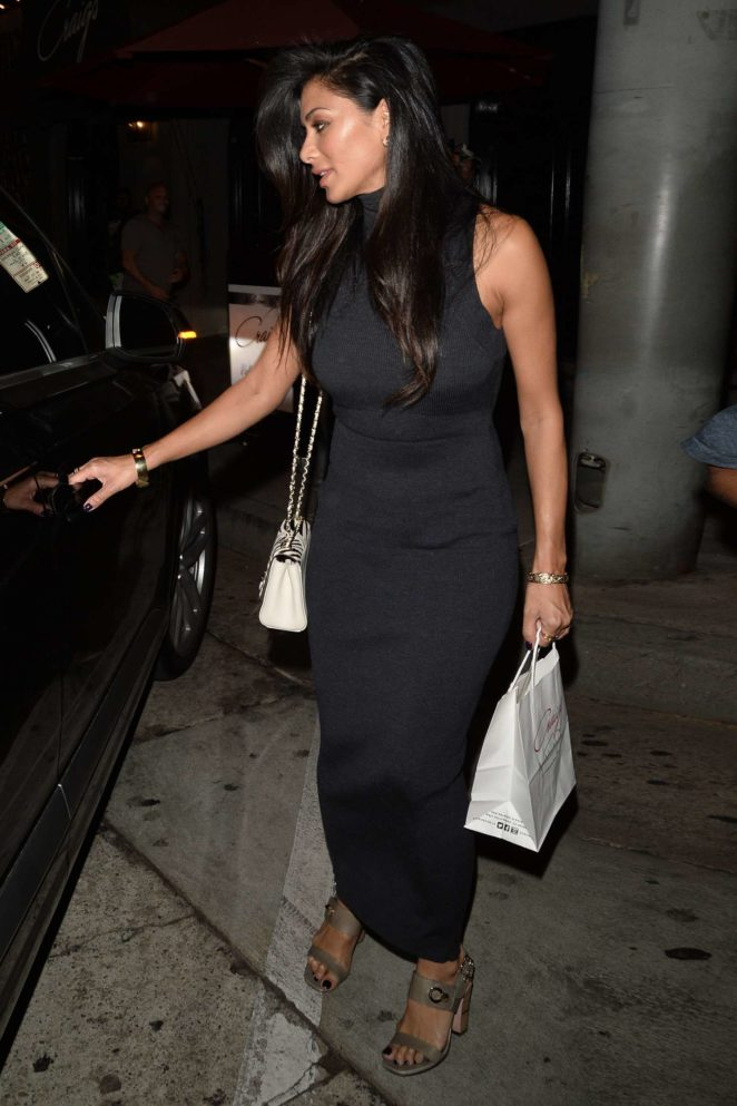 Nicole Scherzinger in Black Dress Leaves Craig's in LA