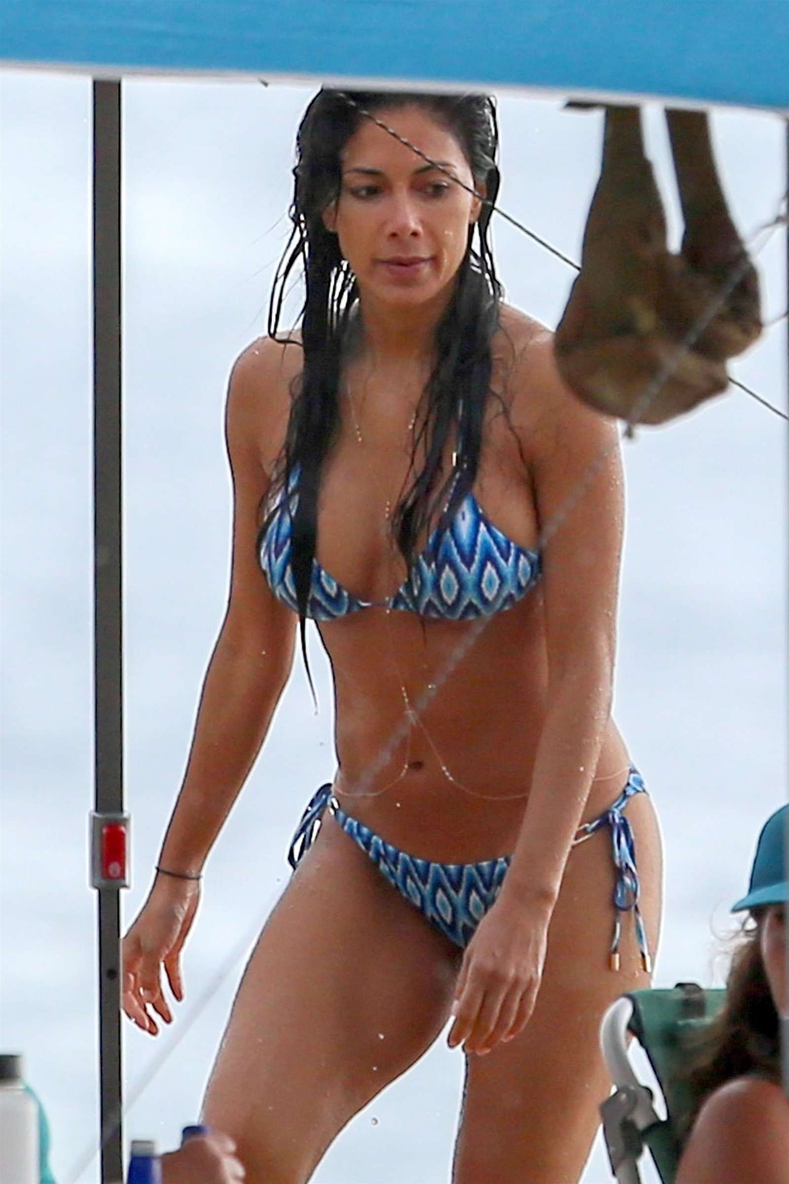 Nicole Scherzinger in Blue Bikini on the beach in Hawaii