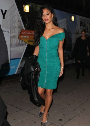 Nicole Scherzinger in Green Dress - Leaving Tape night club in London