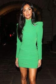 Nicole Scherzinger in Green Mini Dress - Arriving at her hotel in London