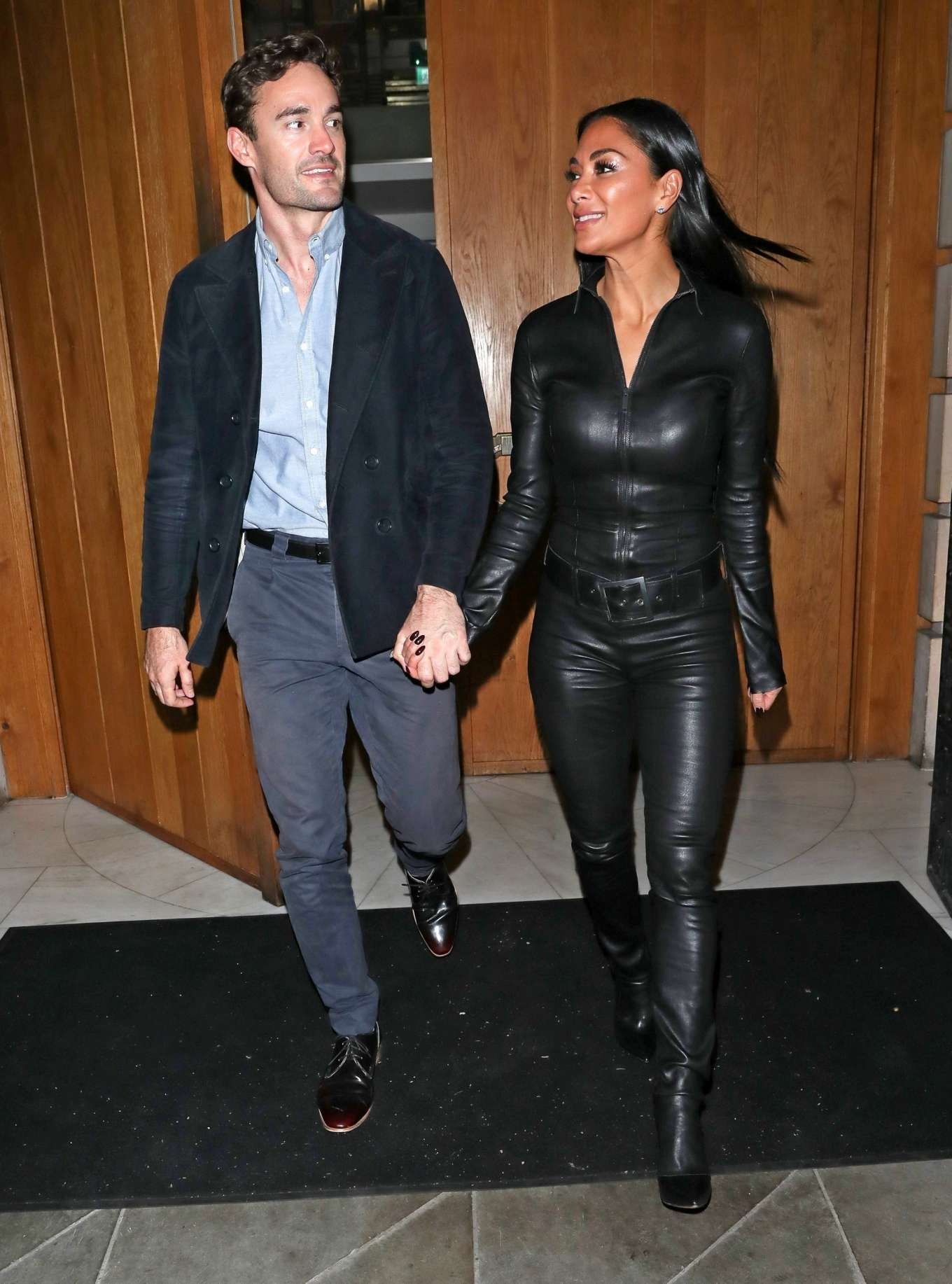 Nicole Scherzinger in Leather Catsuit with Thom Evans - Out in London