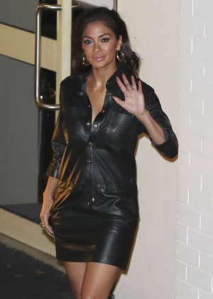 Nicole Scherzinger in Leather Dress Leaving Fountain Studios in London