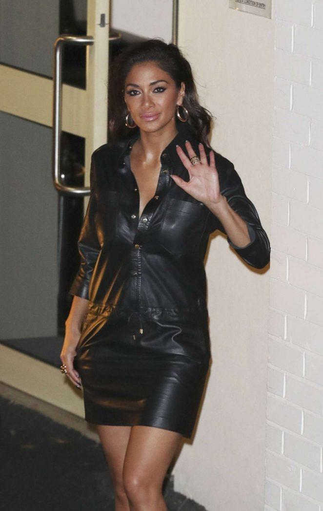 Nicole Scherzinger in Leather Dress Leaving Fountain Studios in London
