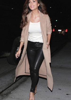 Nicole Scherzinger in Leather Pants at E Baldi in Beverly Hills