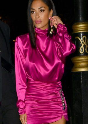 Nicole Scherzinger in Pink Mini Dress - Leaving Annabels in London