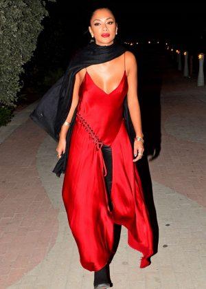 Nicole Scherzinger in Red Dress at the Faena Hotel Art Festival in Miami