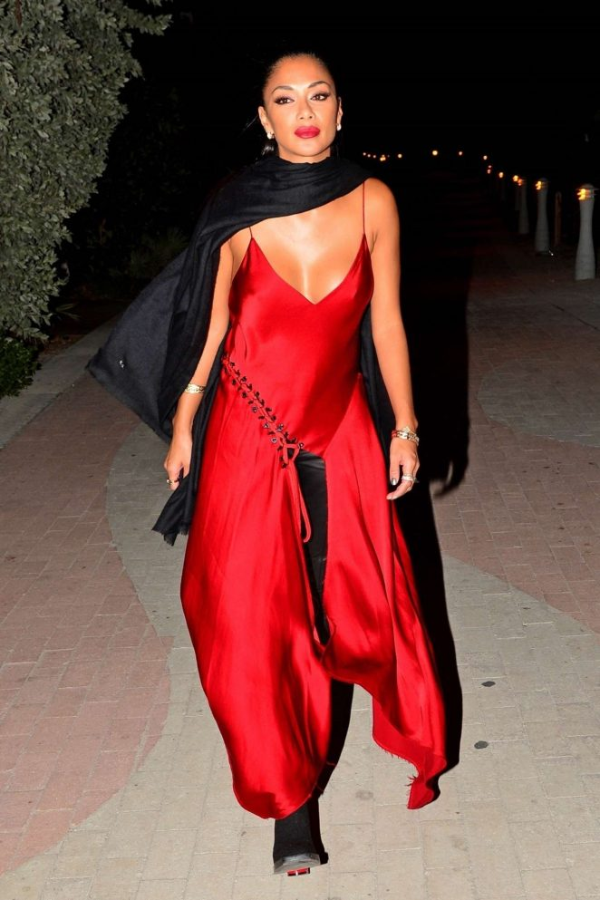 Nicole Scherzinger in Red Dress at the Faena Hotel Art Festival in Miami
