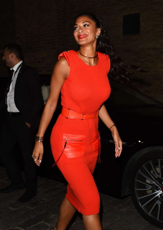 Nicole Scherzinger in Red Dress Leaving The X Factor in London
