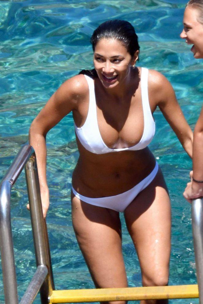 Nicole Scherzinger in White Bikini in Capri