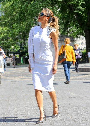 Nicole Scherzinger in White Dress at Central park in NYC