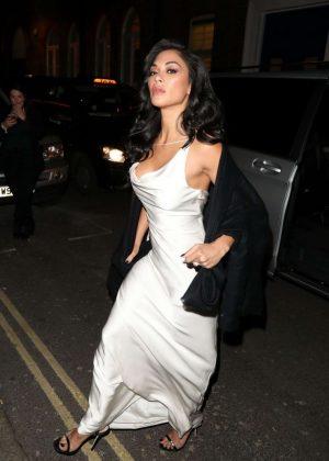 Nicole Scherzinger in White Dress - Leaves Ivy Restaurant in London