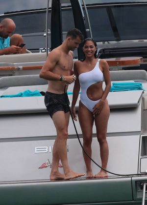 Nicole Scherzinger in White Swimsuit with Grigor Dimitrov in Saint Tropez