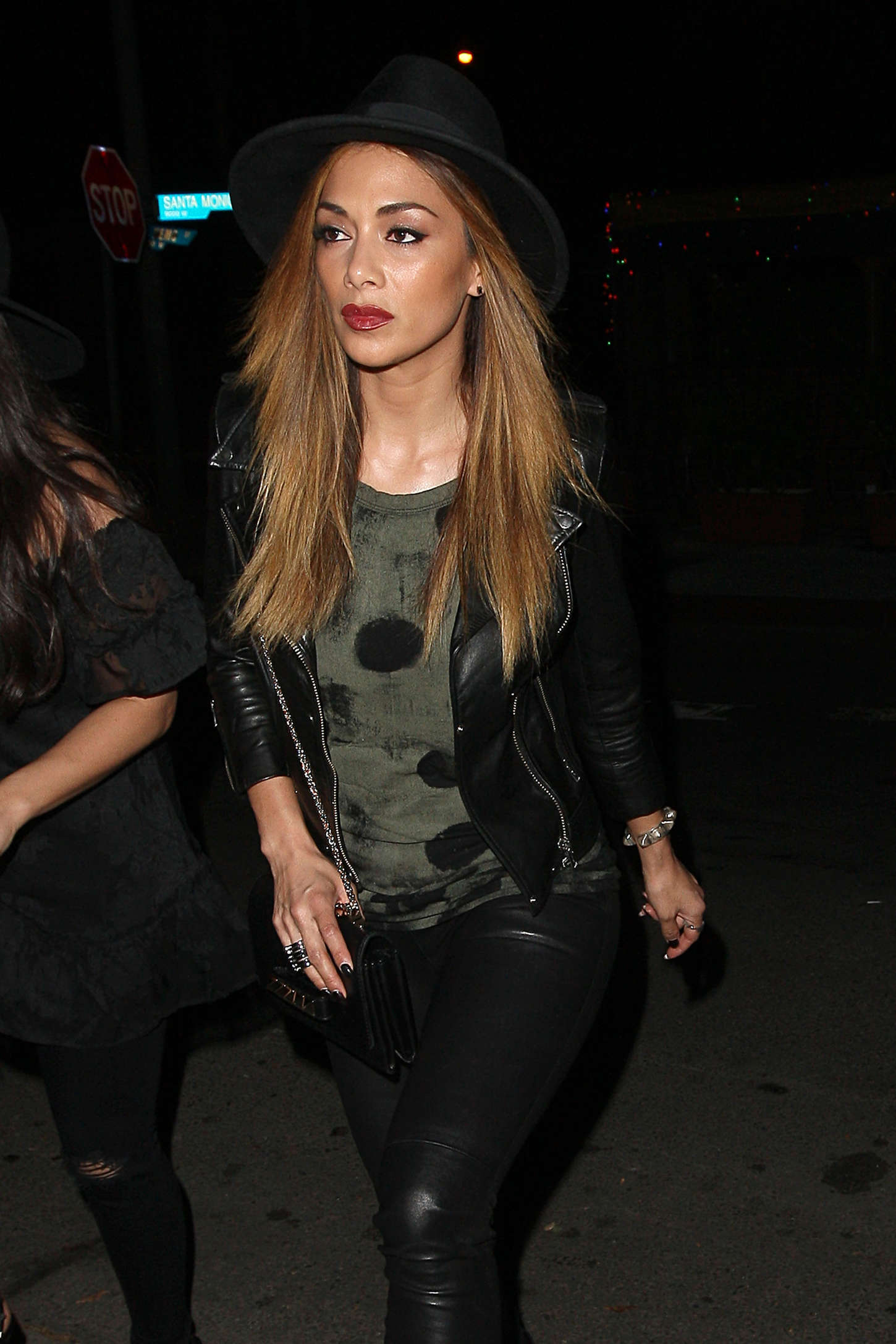 Nicole Scherzinger in Leather Pants - Leaving a party in LA