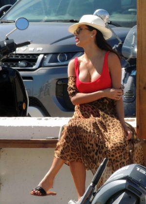 Nicole Scherzinger - Looking Hot in Red Swimsuit on a Boat in Ibiza