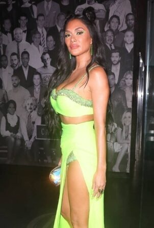 Nicole Scherzinger - Night out in a neon green dress at Catch LA in West Hollywood