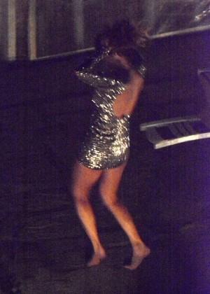 Nicole Scherzinger in Mini Dress Night Out in Mykonos