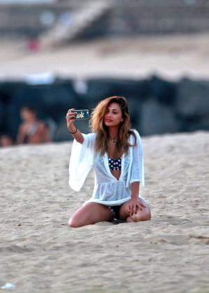 Nicole Scherzinger on the beach in Hawaii