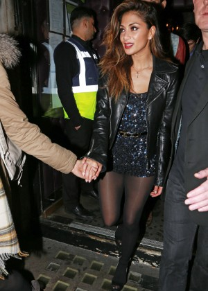 Nicole Scherzinger in Black MIni Dress Out in London