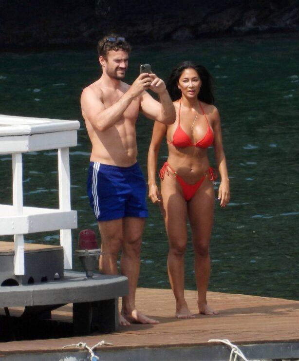 Nicole Scherzinger - Seen in red bikini in Italy