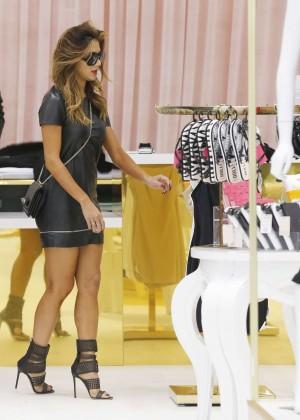 Nicole Scherzinger in mini Dress Shopping in London