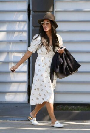 Nicole Scherzinger - Wearing a white summer floral dress in Los Angeles