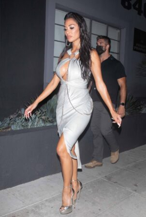 Nicole Scherzinger - Wears a dress while leaving the taping of The Masked Singer in Los Angeles