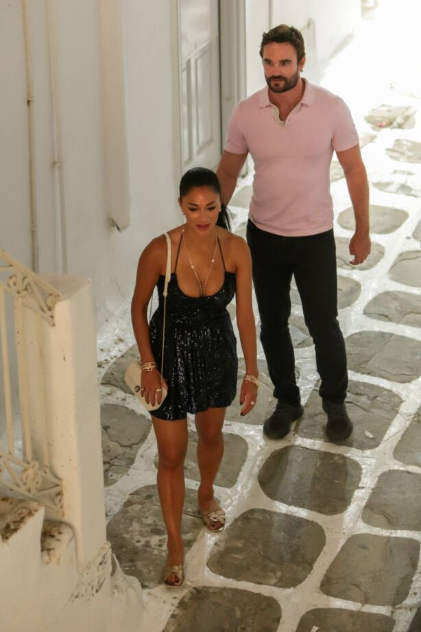 Nicole Scherzinger - With Thom Evans in the old town Hora of Mykonos Island - Greece