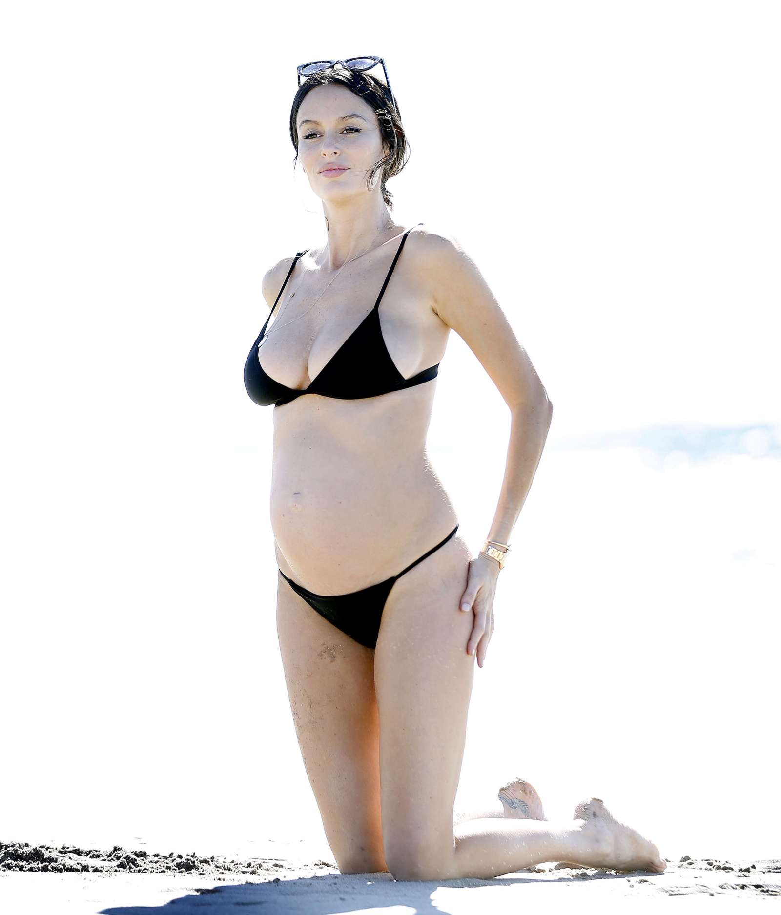 Nicole Trunfio in Black Bikini at a beach in Santa Monica