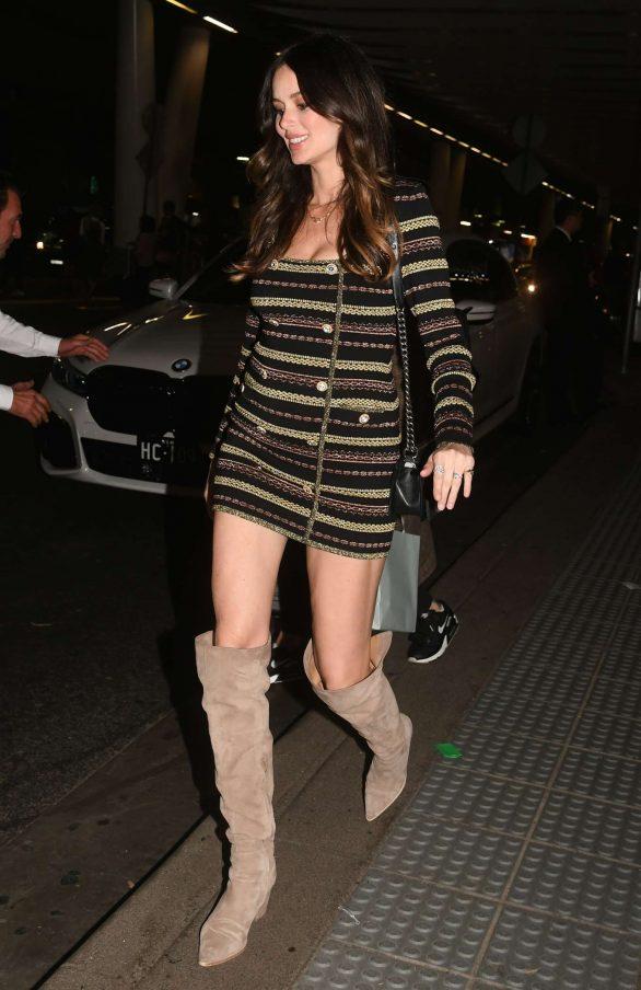 Nicole Trunfio 2019 : Nicole Trunfio in Overknee Boots and a Striped Mini Dress-03