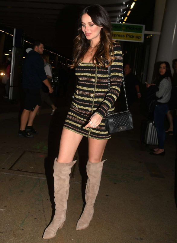Nicole Trunfio 2019 : Nicole Trunfio in Overknee Boots and a Striped Mini Dress-05
