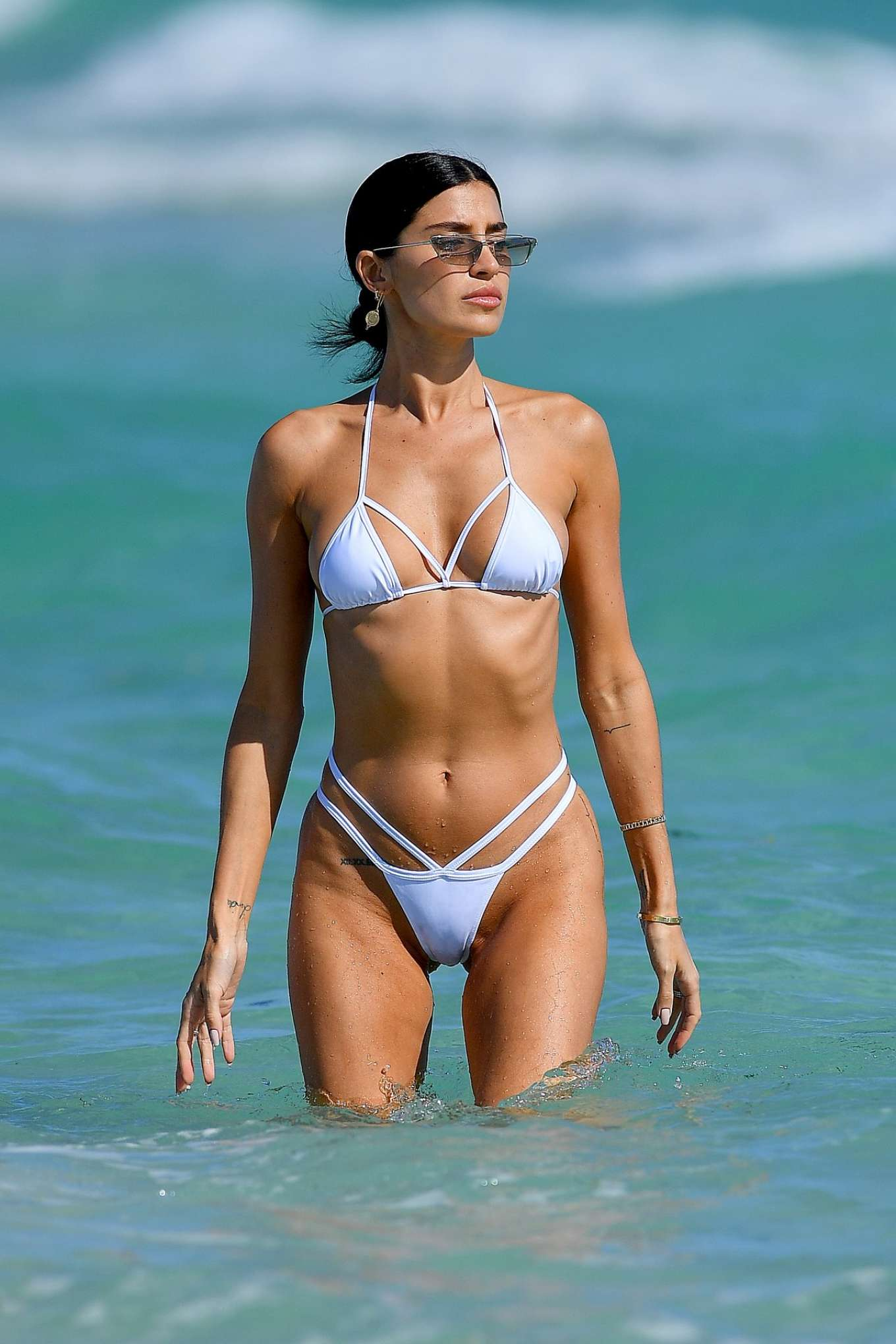 Nicole Williams - In a white bikini in Miami Beach