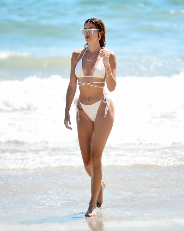 Nicole Williams - In a white bikini on the beach in Malibu
