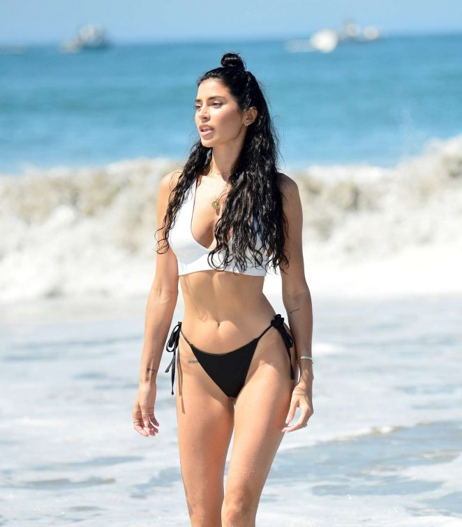 Nicole Williams in Black and White Bikini on vacation in Mykonos