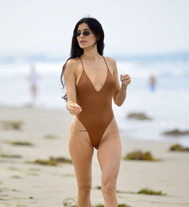 Nicole Williams in Brown Swimsuit at Laguna Beach