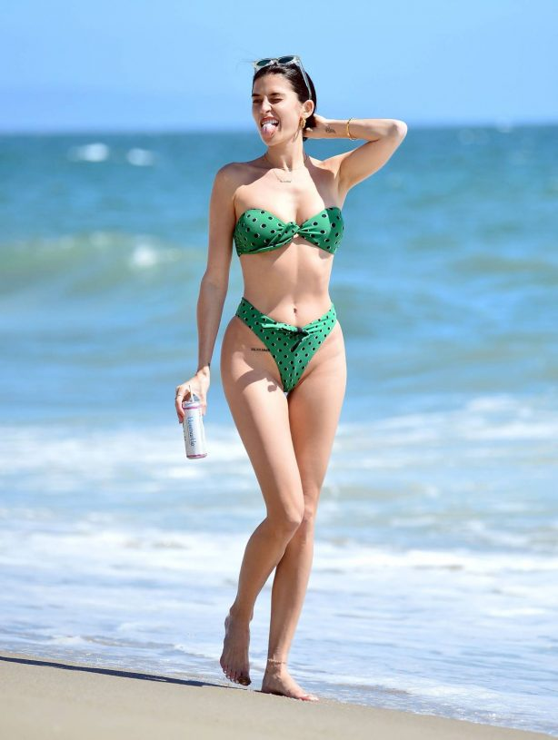 Nicole Williams in Green Bikini on the beach in Malibu