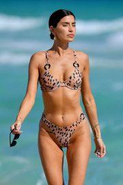 Nicole Williams in Leopard Print Bikini in Miami Beach