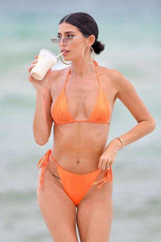 Nicole Williams in Orange Bikini on the beach in Miami