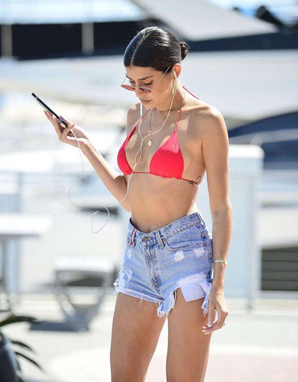 Nicole Williams in Red Bikini and Shorts - Rollerblading in Marina Del Rey