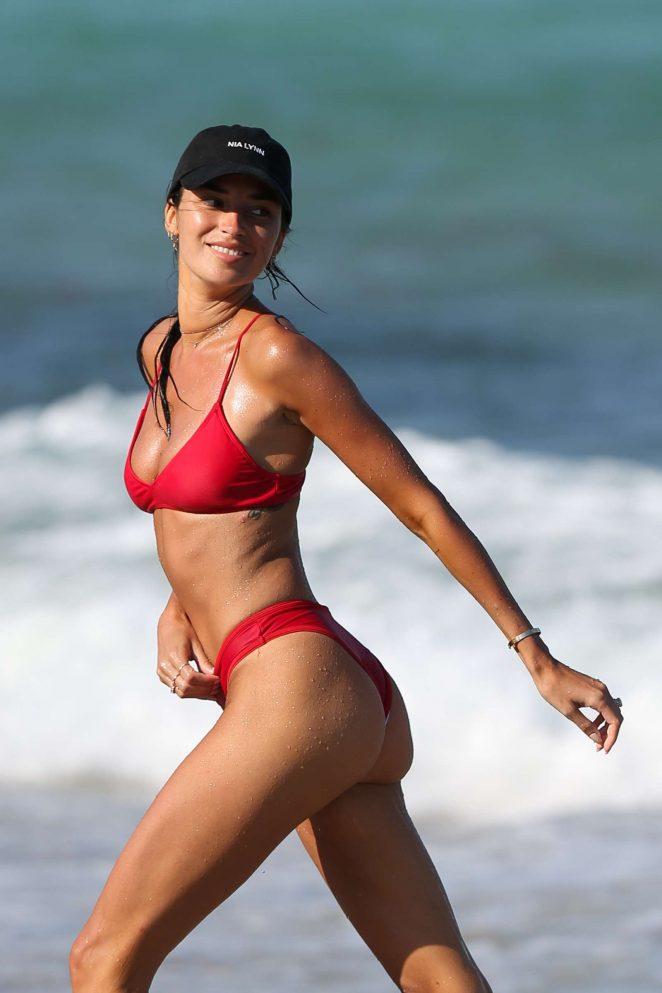 Nicole Williams in Red Bikini on the beach in Miami